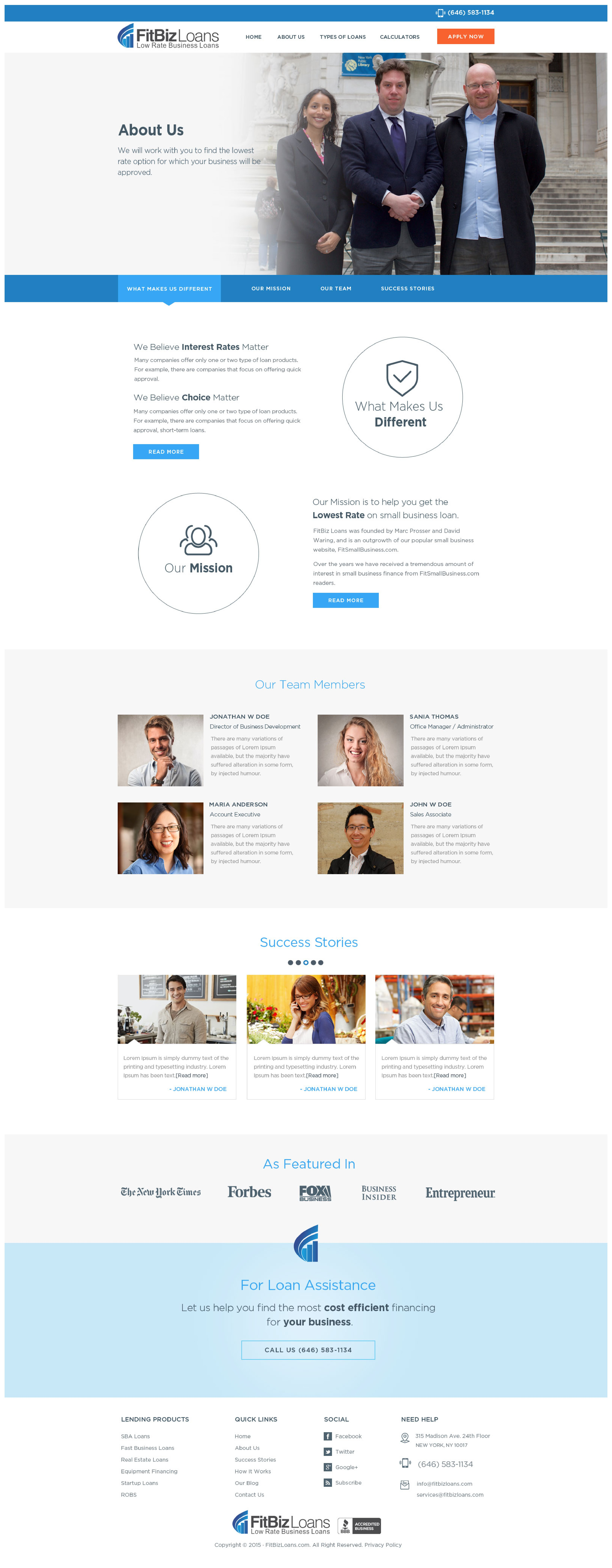 Create a modern, clean, professional site for FitBizLoans.com!