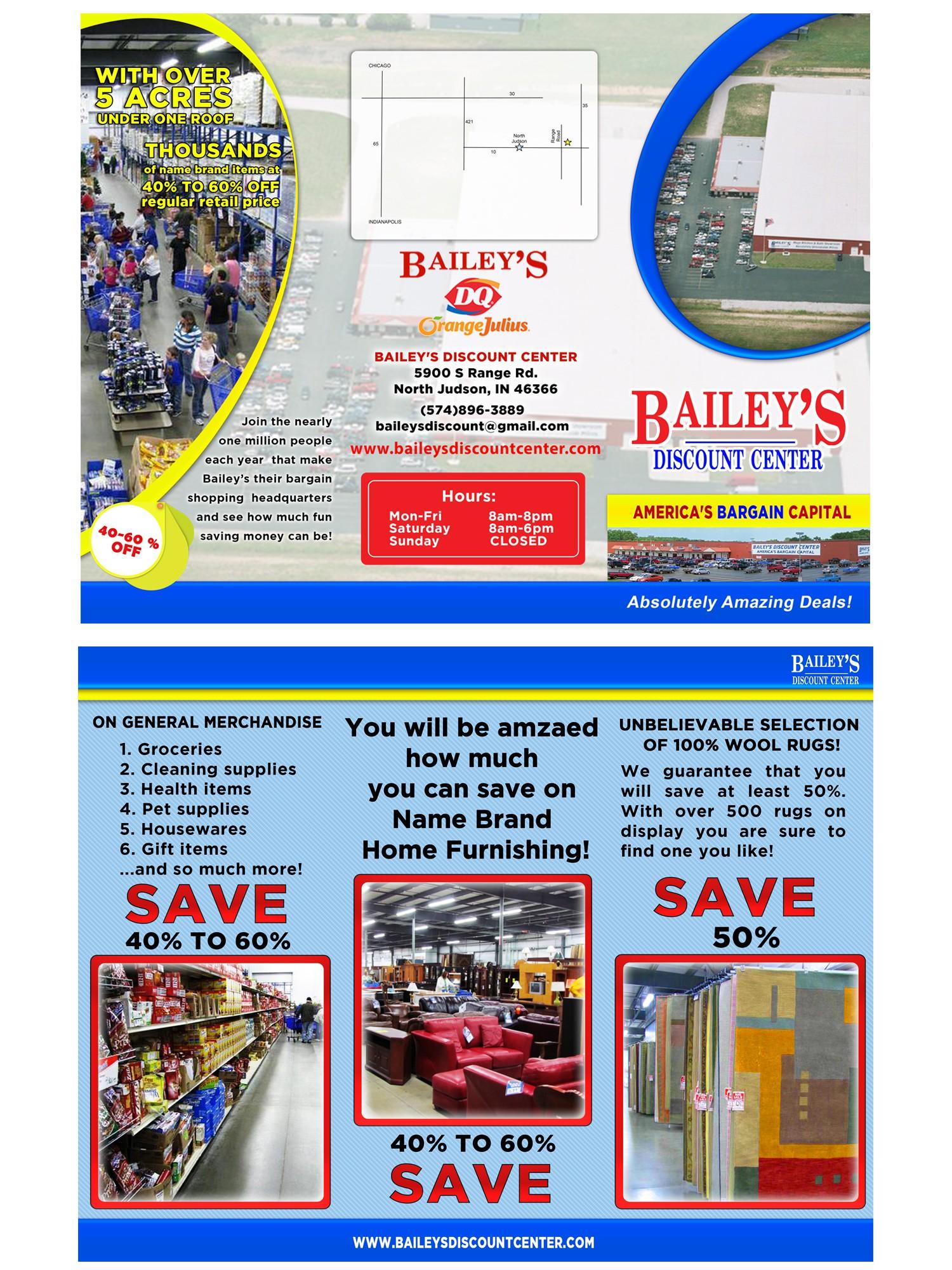 Create the next brochure design for Bailey's Discount Center