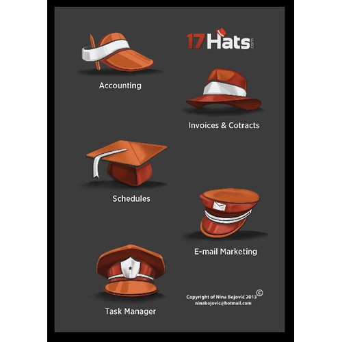 """Icon set for """"17 Hats"""""""