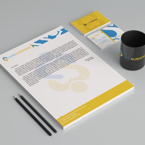Create an informative and aesthetic business card + letterhead for Care Guidance
