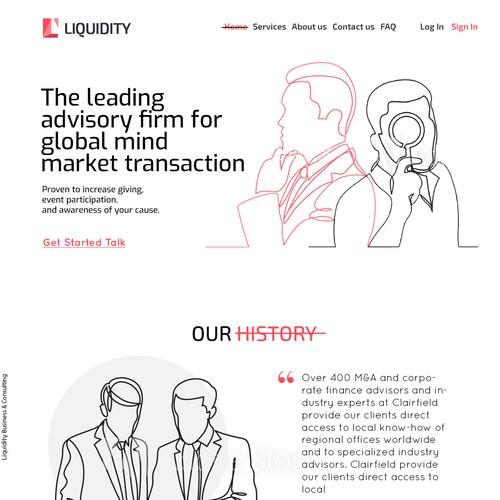 Landing page of Liquidity company