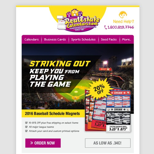 Email Template for Baseball Products.