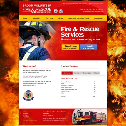 Website Design for Broome Volunteer Fire Brigade