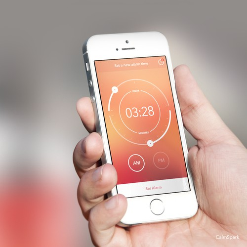 Create a Simple, Clean, Modern, Warm Alarm Clock iOS App