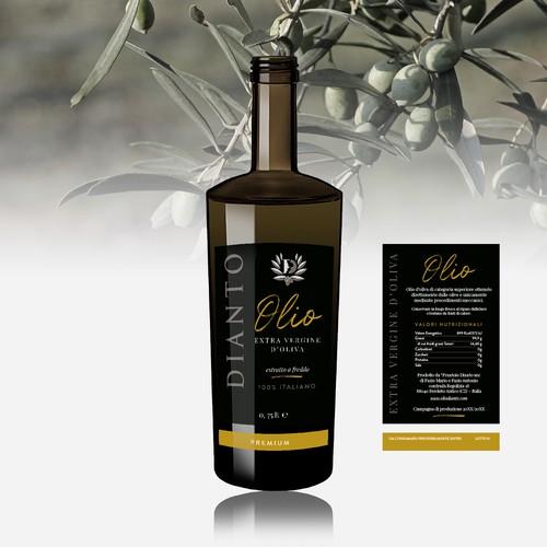 Etichetta moderna e lussuosa per la nuova linea di prodotti dell'Olio Dianto
