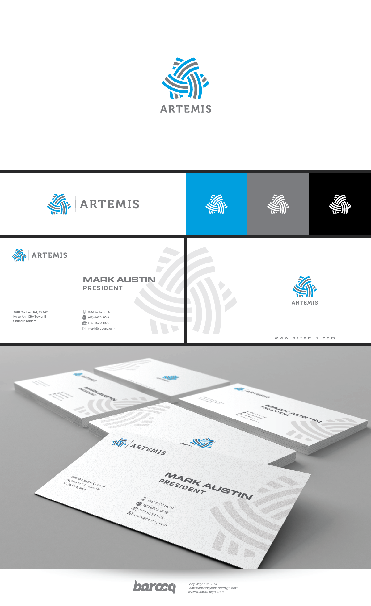 Create a logo and business card for Artemis that make us look big, fresh, and smart.