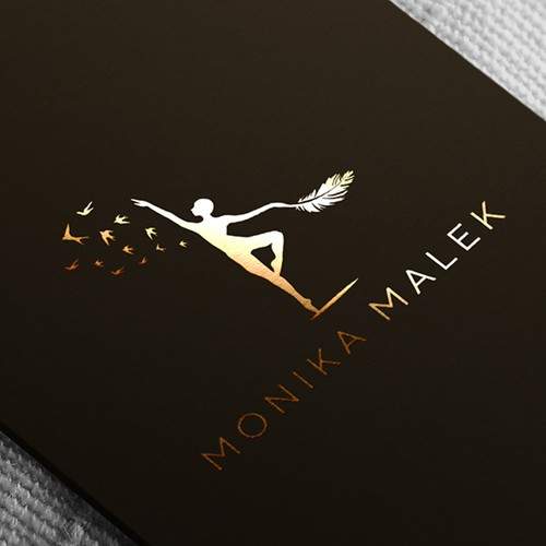 An elegant logo design concept for a female coach who offers meditations, singing and burlesque dancing classes