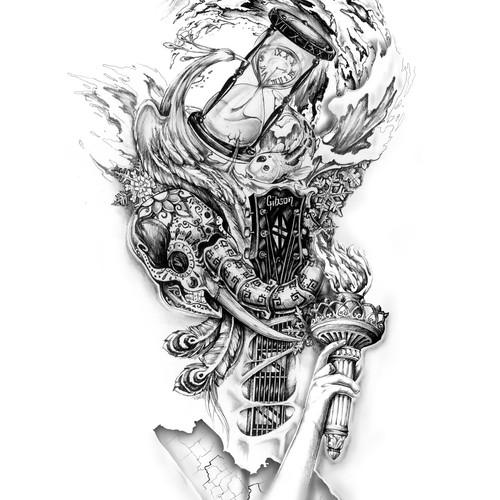 Shoulder to mid-arm tattoo design