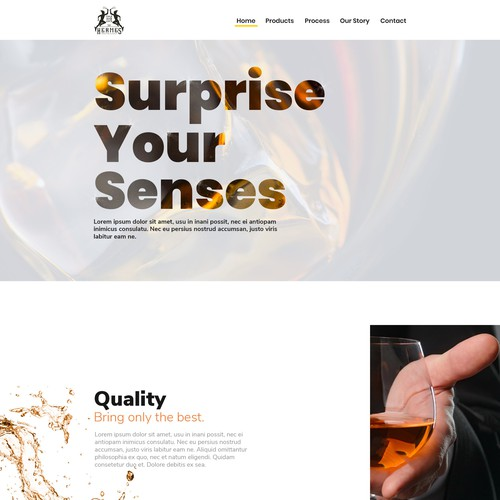 Website UI for whiskey brand