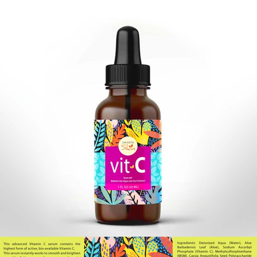 BRIGHT VIBRANT COLORFUL DETAILED VITAMIN C SERUM PRODUCT LABEL