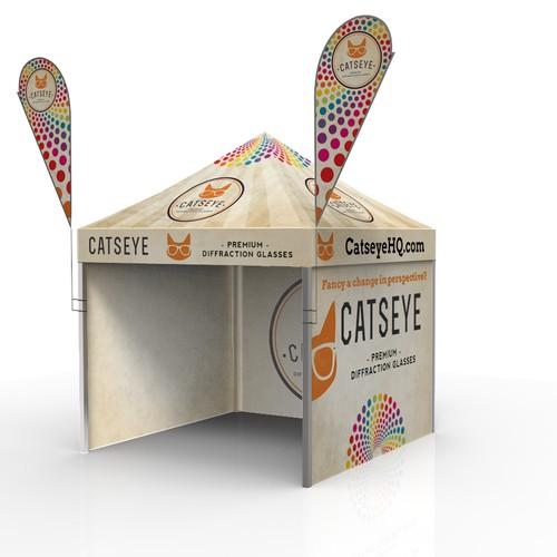 Design a minimalist yet eye-catching gazebo/marquee exterior forCatseye!