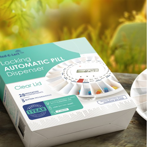 Automatic Pill Dispenser, packaging design