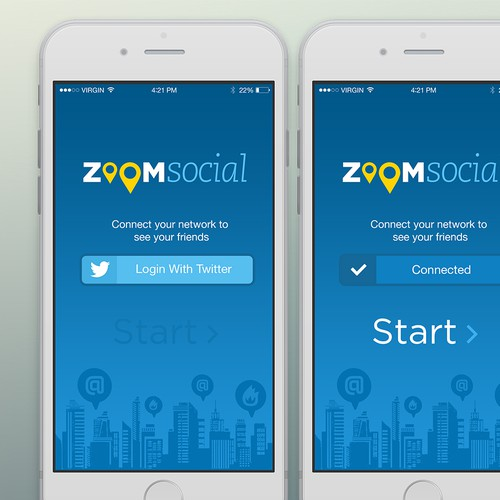 Create 3 screens for a social media app - Zoom Social