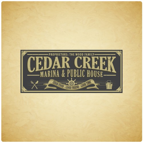Create the next logo for Cedar Creek Marina & Public House