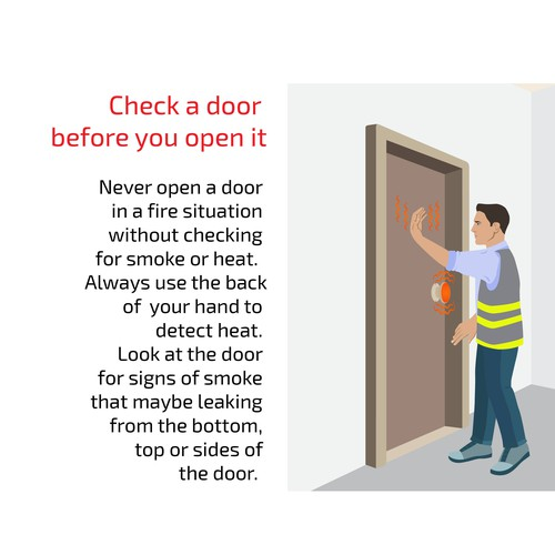 Door check on smoke and fire