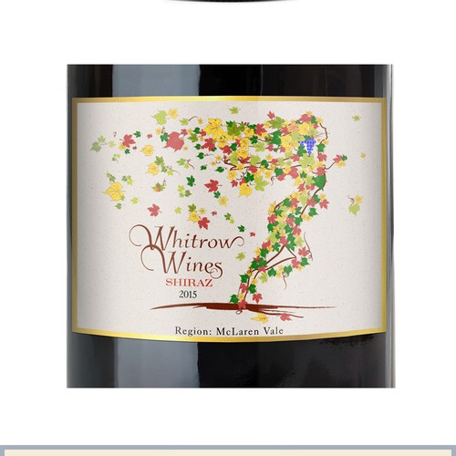 Artistic Wine Label with balance of movement and color.