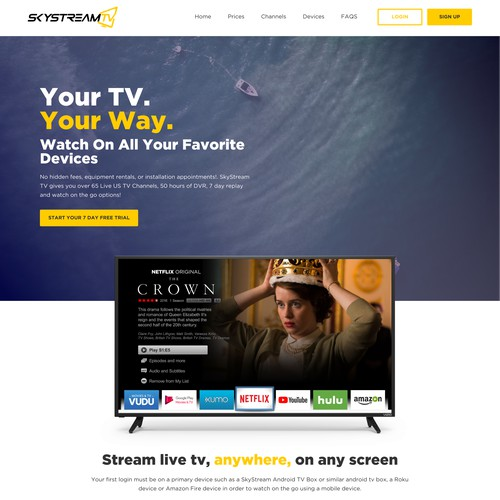 Home Page for Sky Stream TV