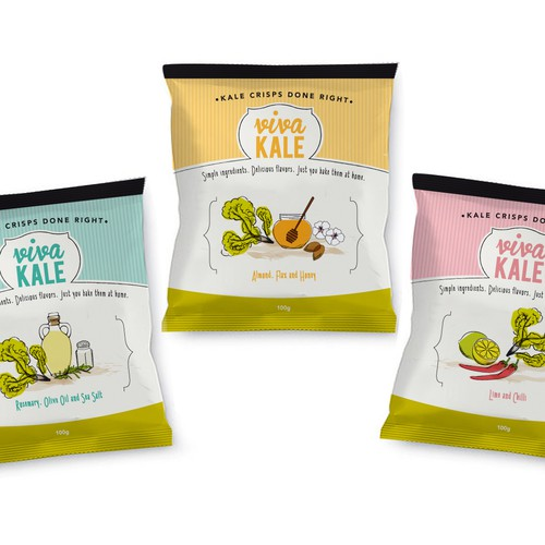 Design Crisp Packets for Viva Kale..A chic, urban, trendy, fun new brand