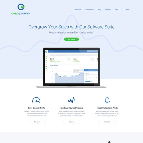 Clean, simple & elegant homepage design for software company