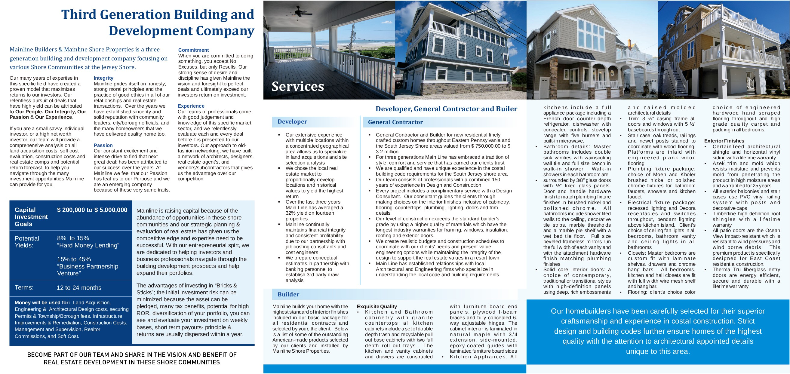 Create a professional brochure for an upscale property developer