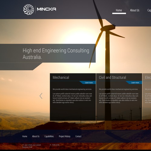 Website design concept for an engineering consulting firm.