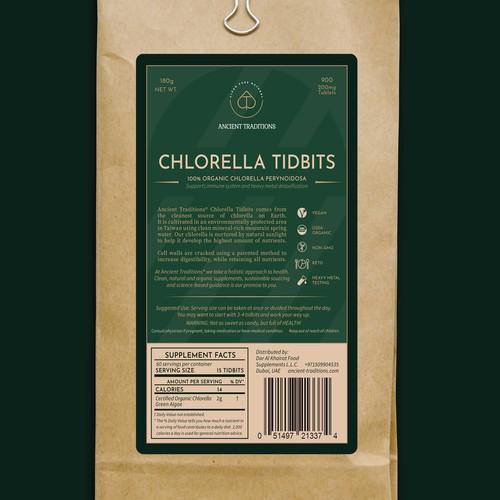 Chlorella Tidbits label
