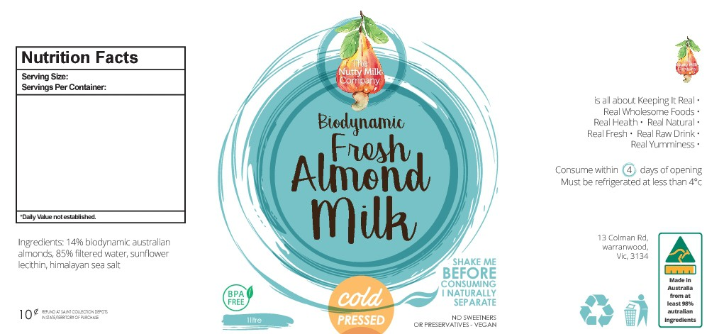 Design a label for a new product Biodynamic Almond Milk