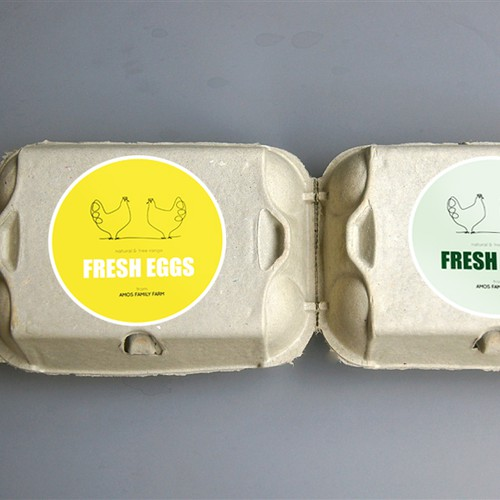 Egg carton label for Amos Family Farm