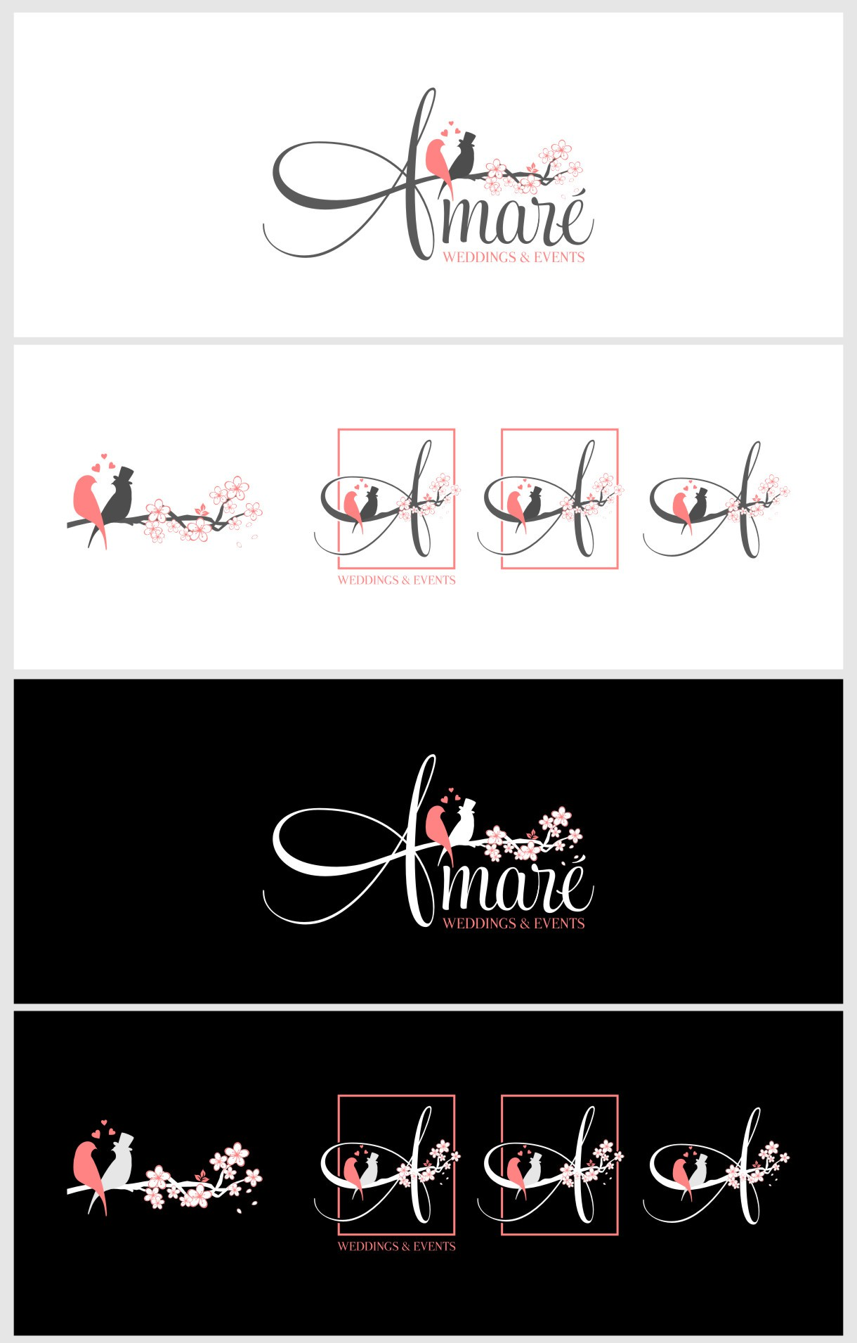 Create the next logo for Amare Weddings and Events