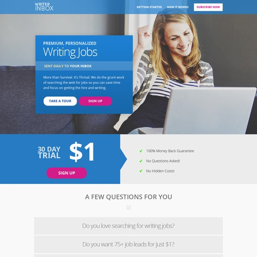Create a new landing page for Freelance Writers Membership Site
