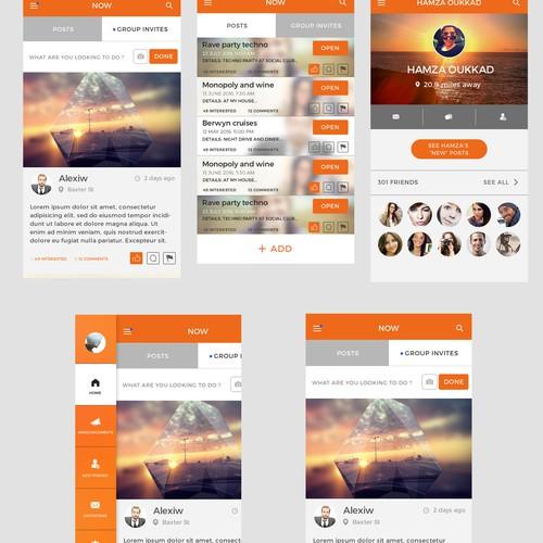 UI design for a social networking app