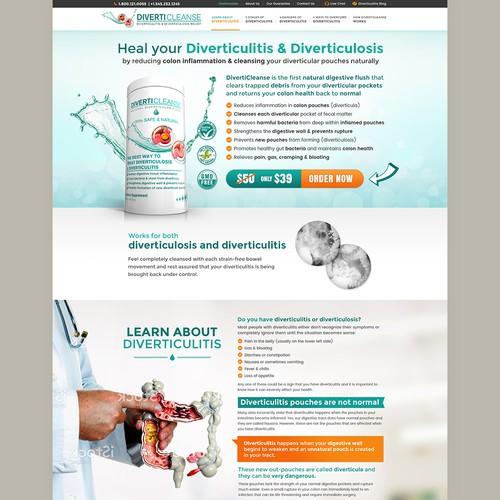 Design a single page website for a health product.