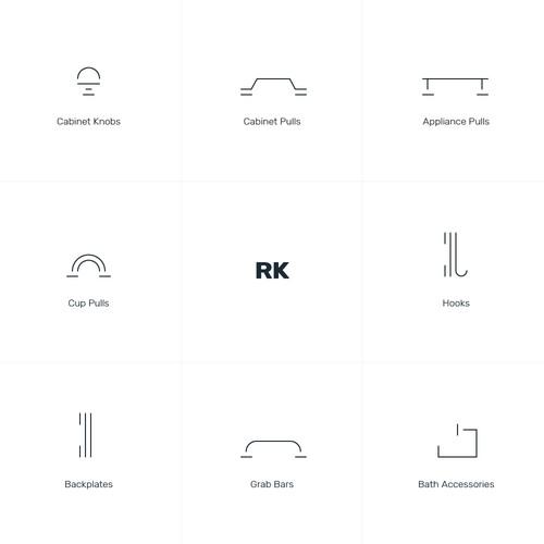 Minimalist icons design for doornob and bathroom accessories company