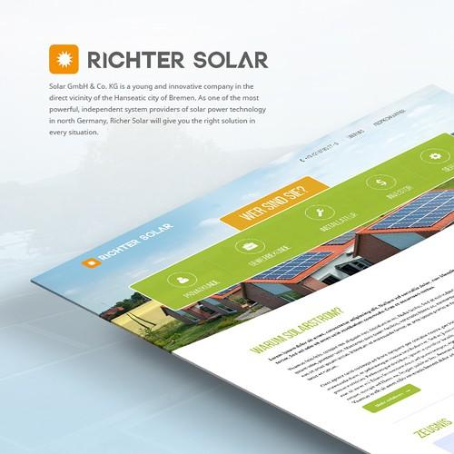 Erstellt eine professionelle Startseite für eine Solarfirma