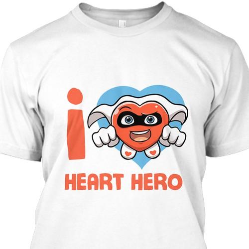 Heart-shaped Super Hero T-Shirt Design