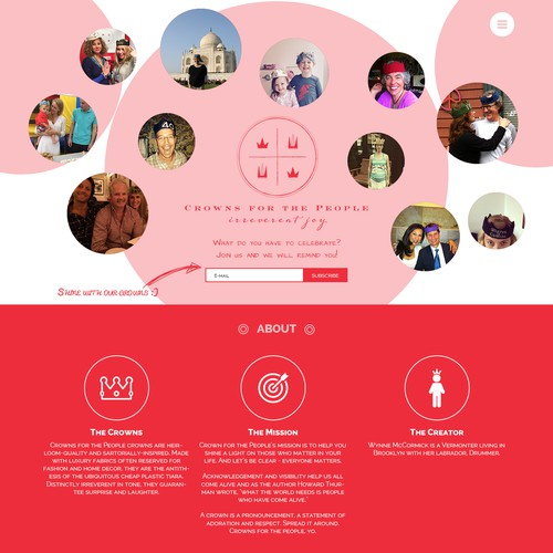 Landing page design for Crowns for the People