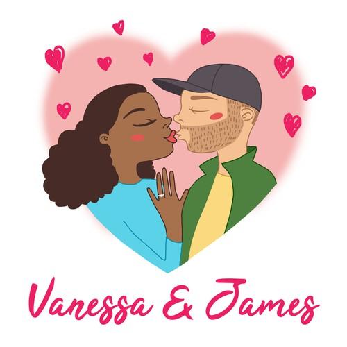 Create a cute cartoon couple for wedding gifts!