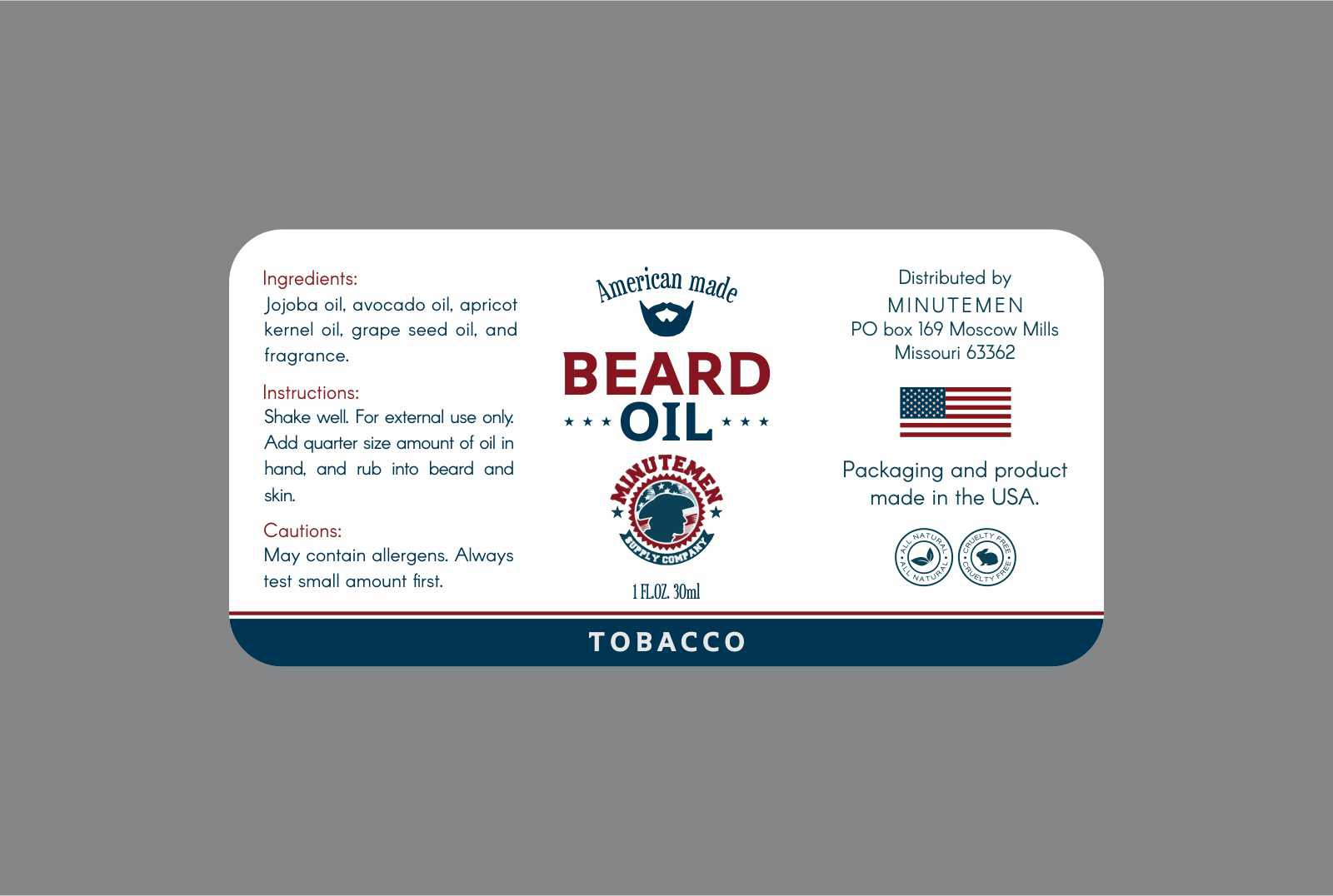 Create a product label for an American made Beard oil