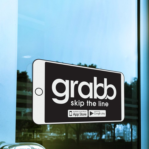 a captivating restaurant window sticker for Grabb