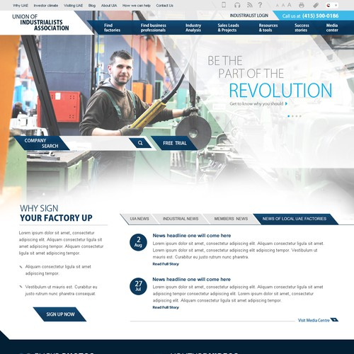 Homepage design for the Industrialists Association