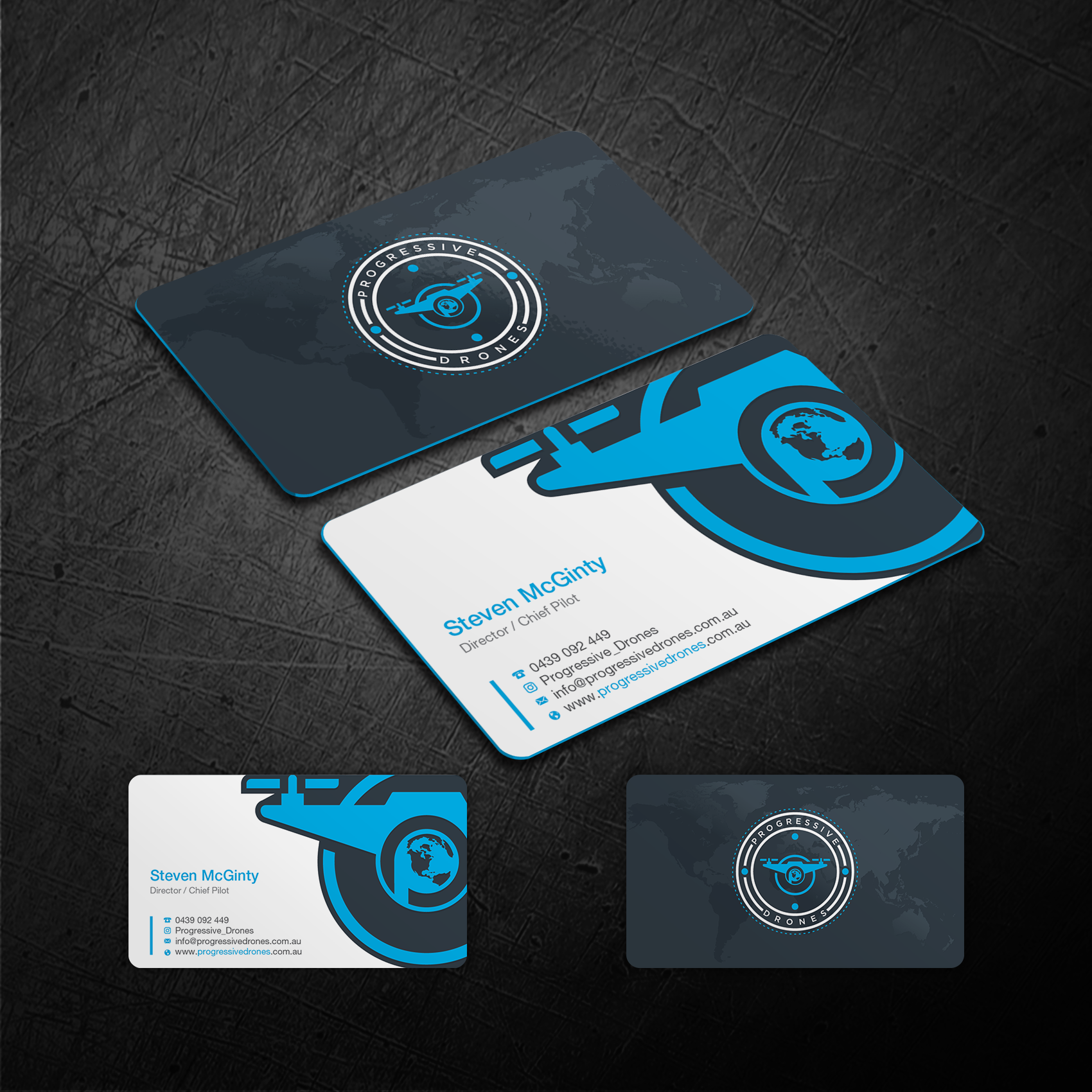 Design an AMAZING Business Card for our Global Drone Company Progressive Drones