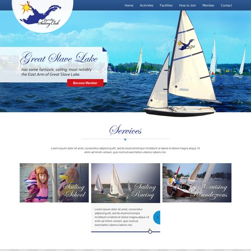 Create a catching website for a grrowing and active sailing club.