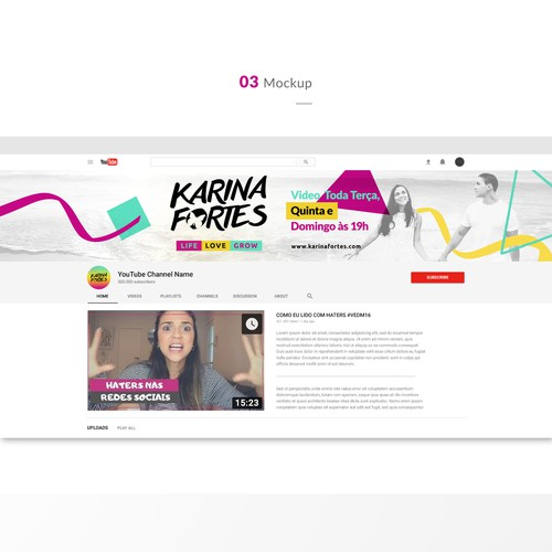 Fun and stylish Youtube cover banner for Karina Fortress channel