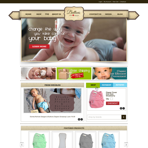 Homepage Design for Ecommerce Business - Cloth Diapers Seller