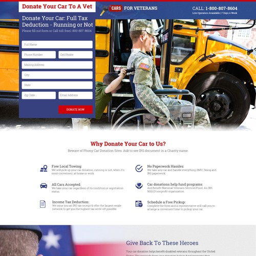 Website Design for CArs For Veterans Website
