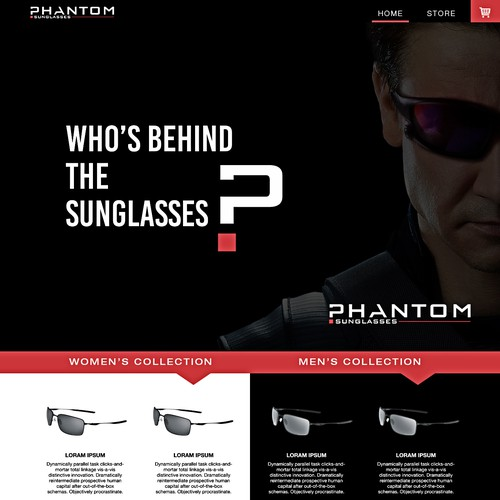Phantom sunglasses logo & website design concept