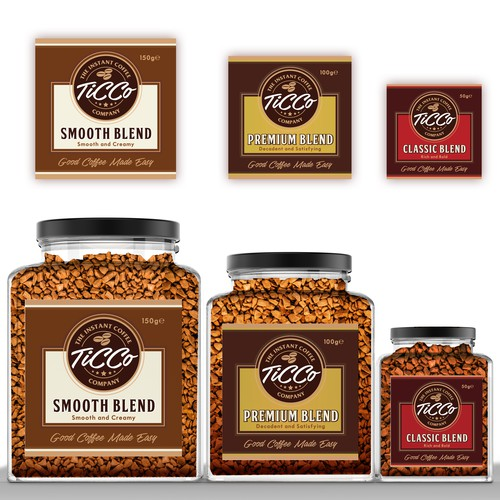 Product labels for TiCCo The Instant Coffee Company (Victoria, Australia)