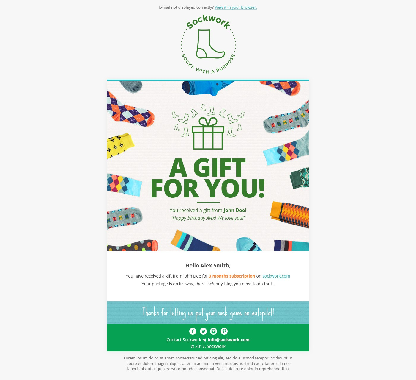 Design a fun gift e-mail for a cool fashion subscription site that donates to charity