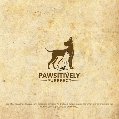 Bold logo design for pawsitively purrfect