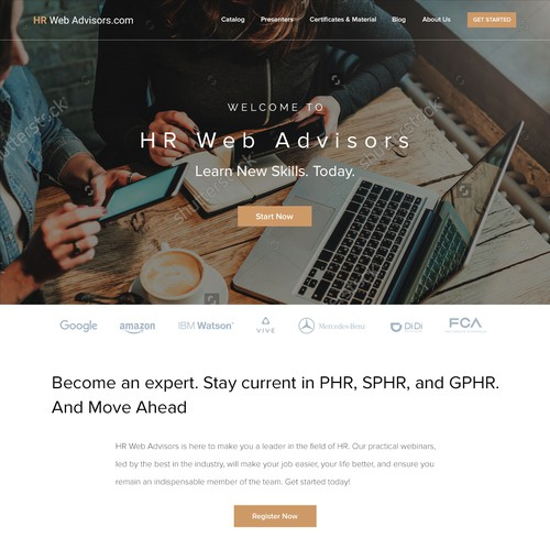 Logo and Landing Page for HRwebadvisors.com